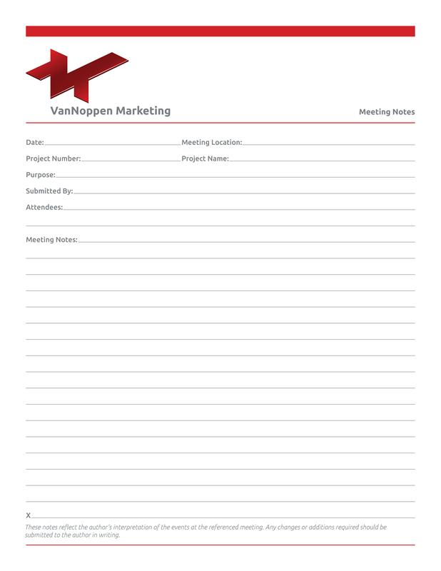 VanNoppen Marketing notepads