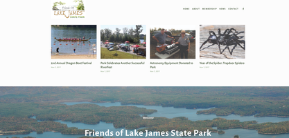Friends of Lake James, New Website, Home Page
