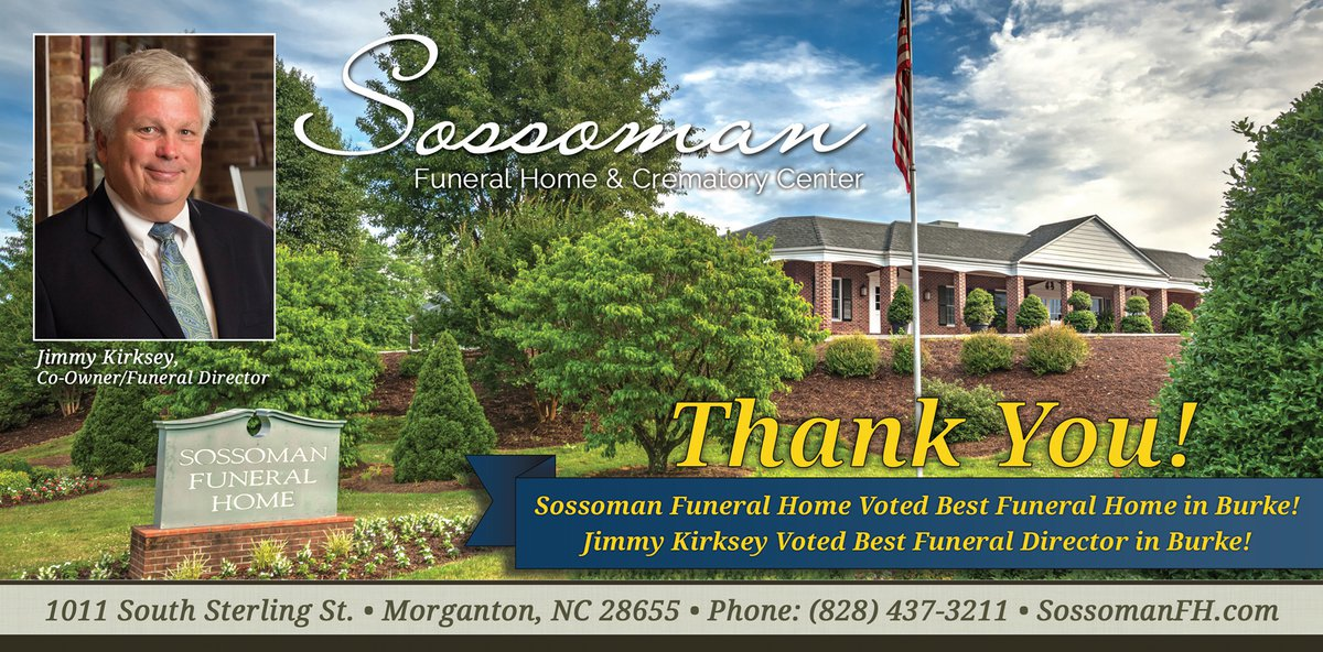 Sossoman Funeral Home Best in Burke ad