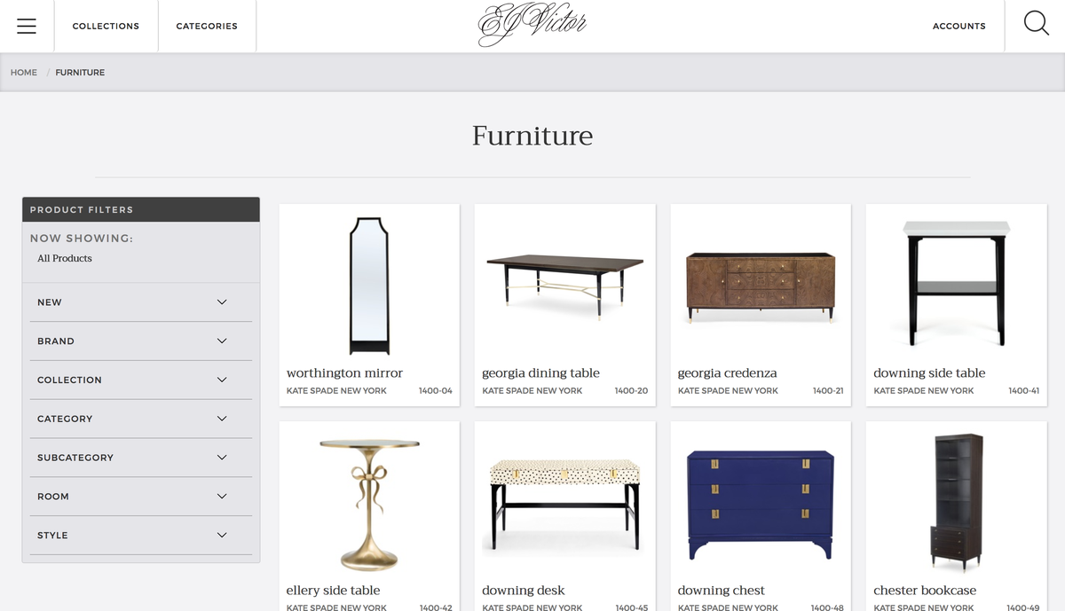 EJ Victor website furniture page
