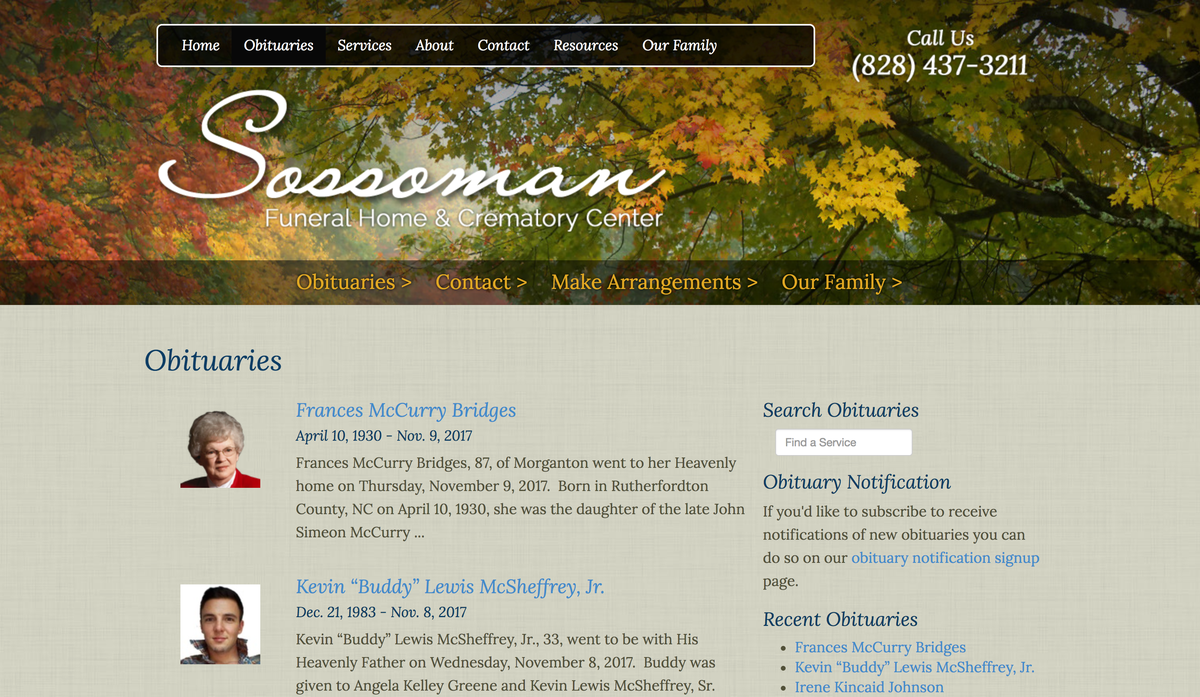 Sossoman Funeral Home website obituaries page