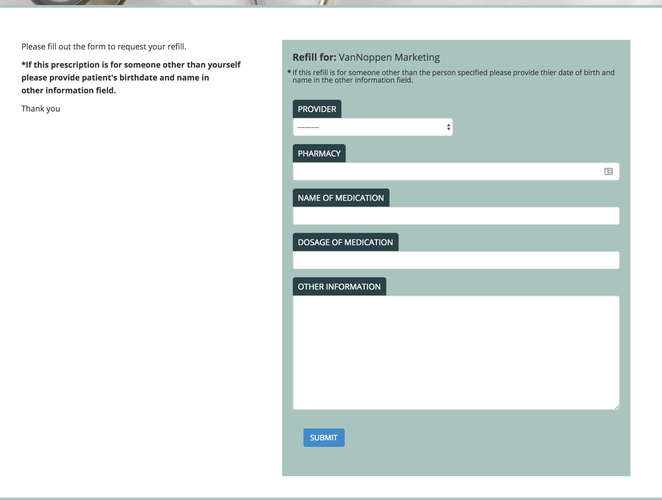Burke Primary Care website refills