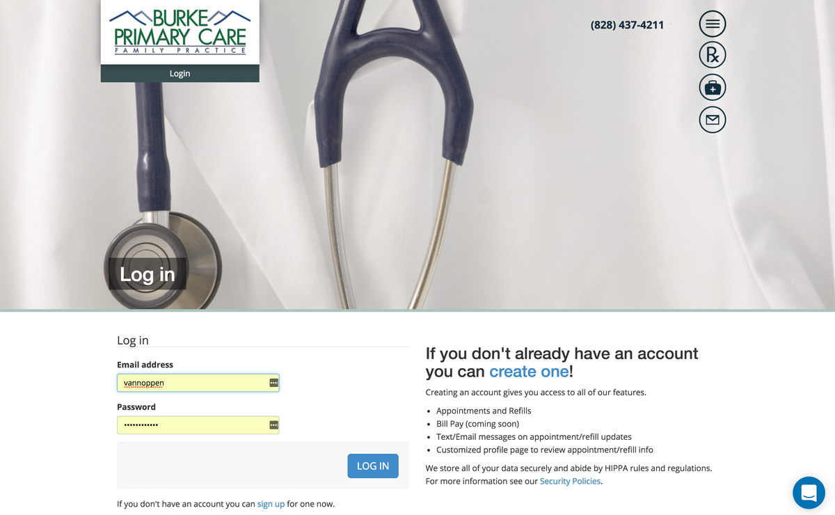 Burke Primary Care website patient login