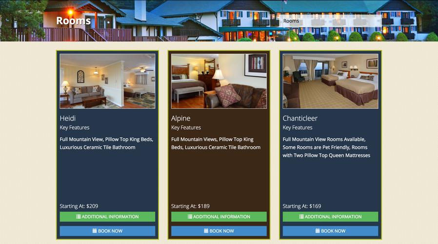 Switzerland Inn website rooms page