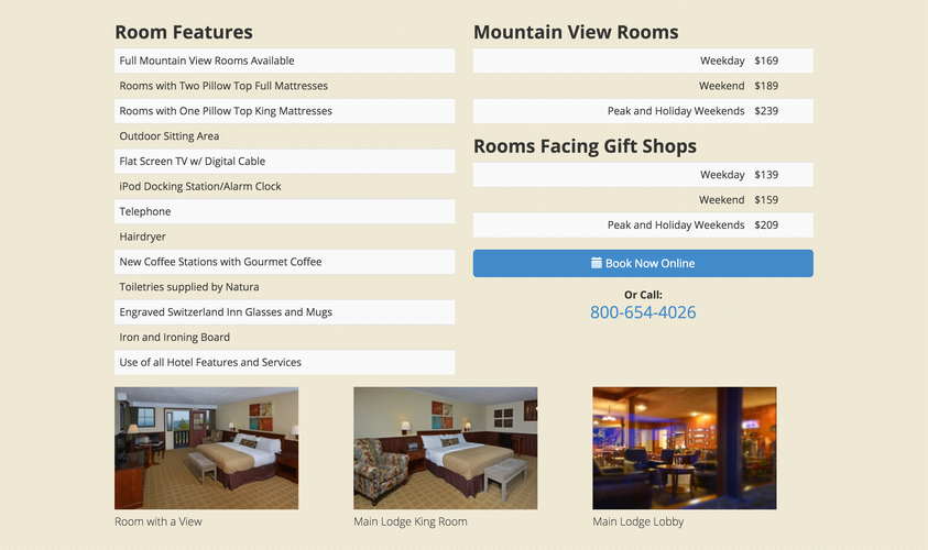 Switzerland Inn website room details