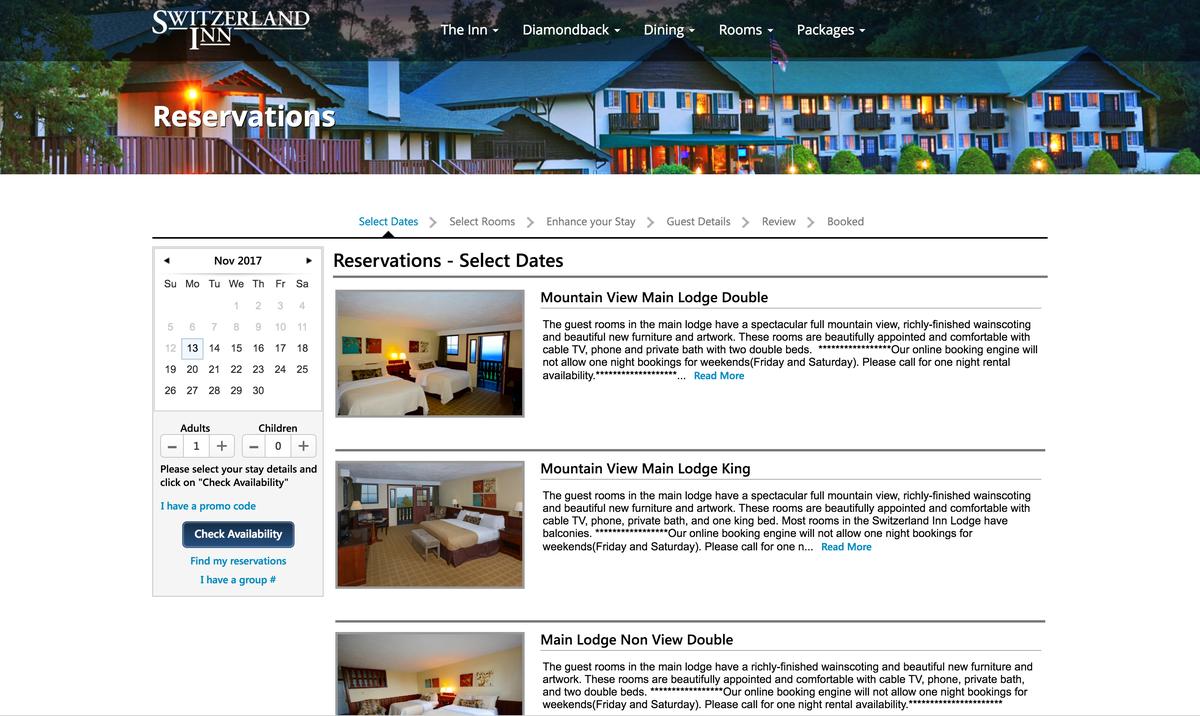 Switzerland Inn website online reservations