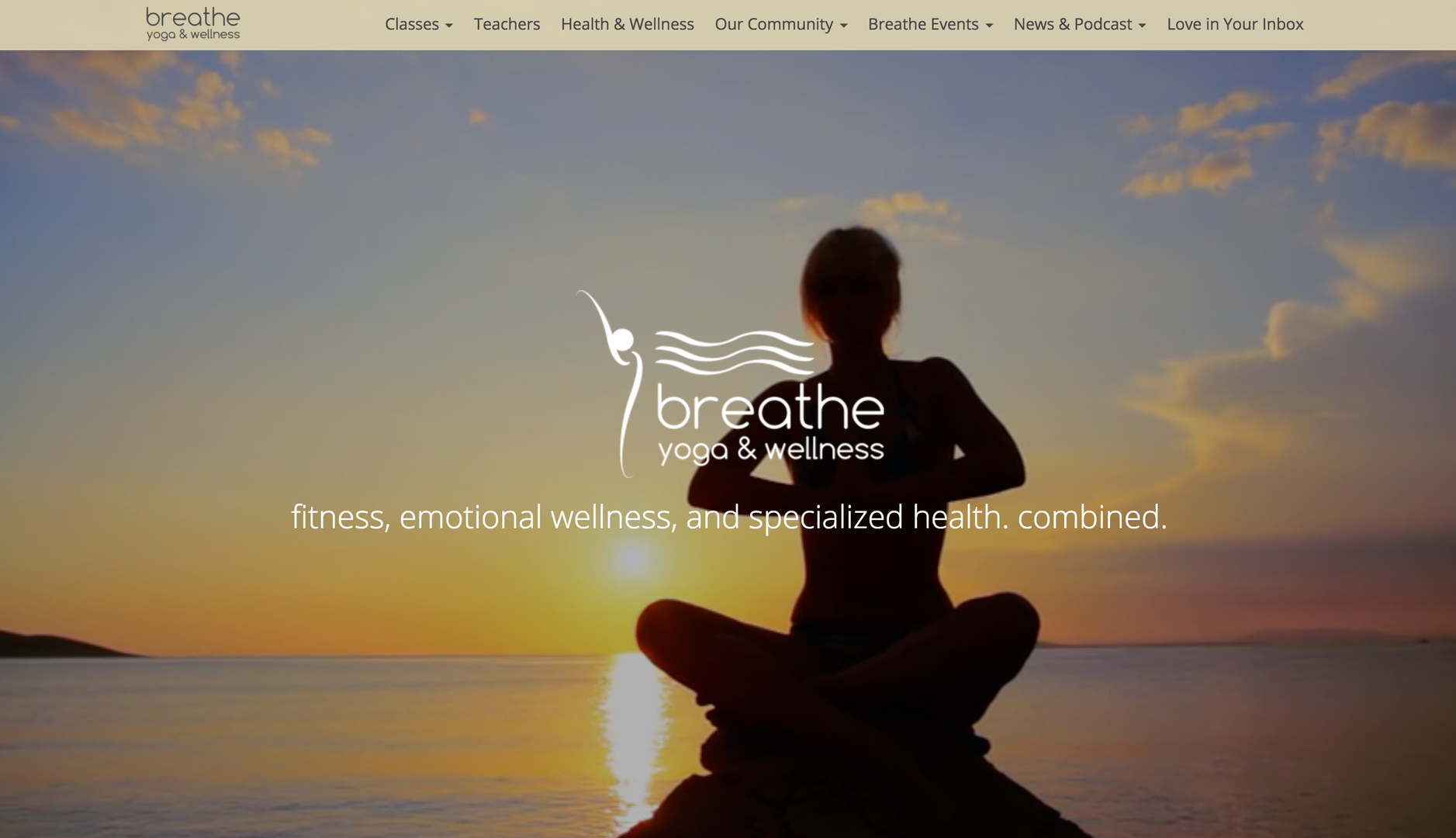 Breathe Yoga Wellness website homepage