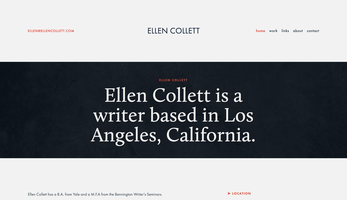 Ellen Collett website homepage