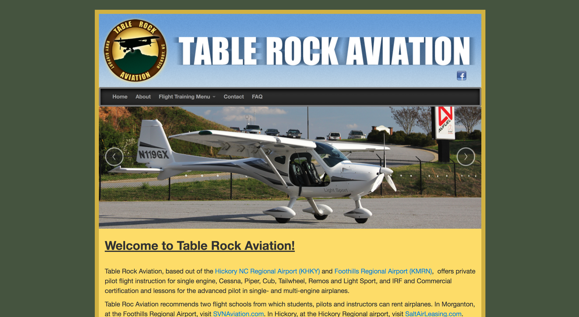 Table Rock Aviation website homepage