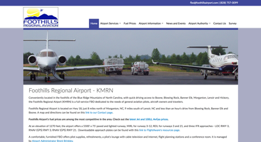 Foothills Regional Airport website homepage