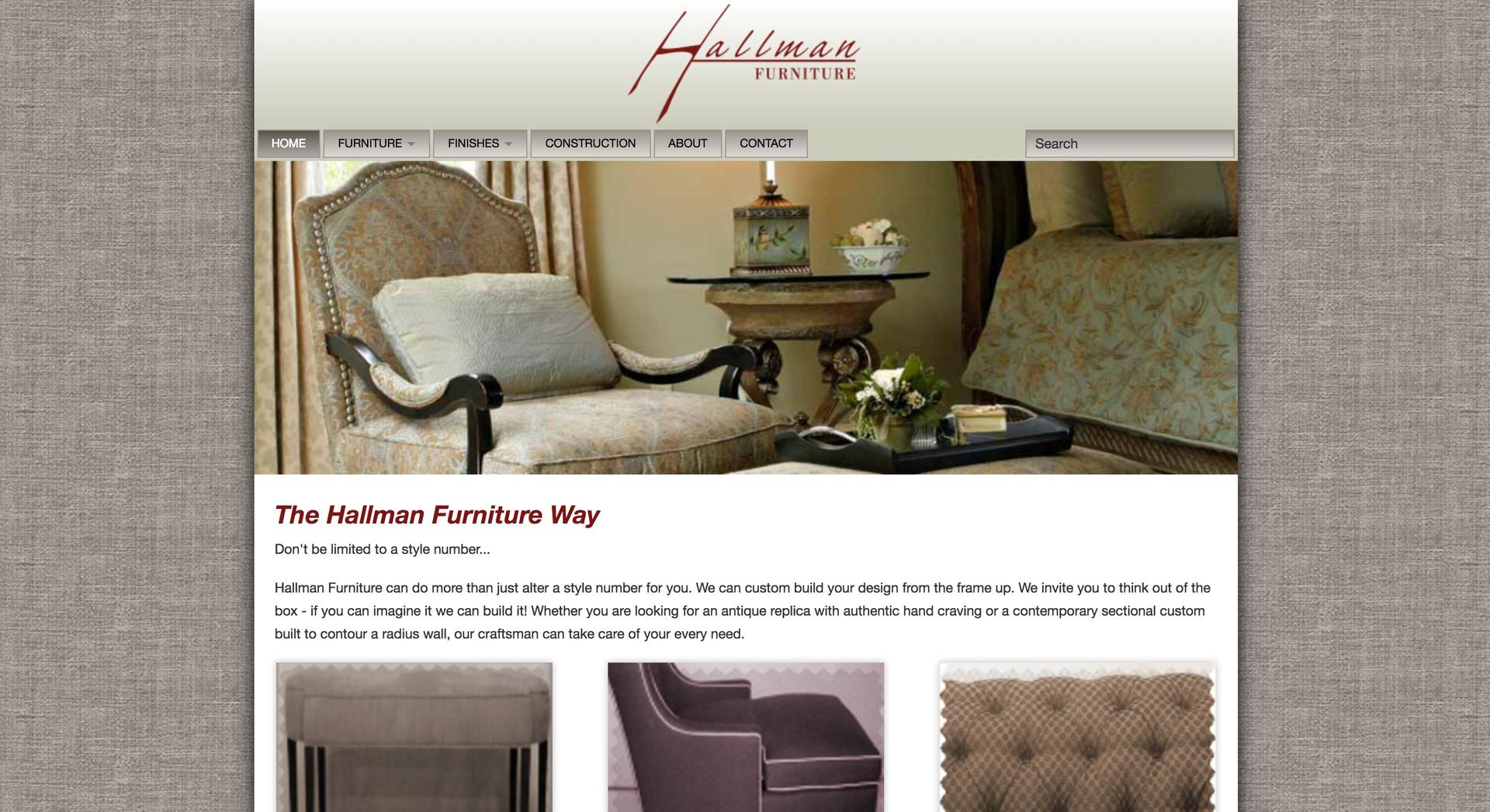 Hallman Furniture Website Homepage