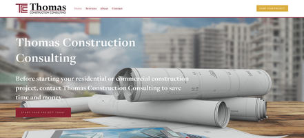 Thomas Construction Consulting, New Website, Home Page