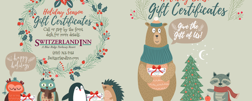 VanNoppen Designs Holiday Gift Certificates for The Switzerland Inn