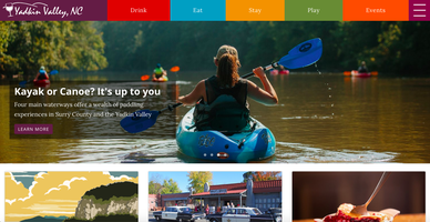 Yadkin Valley Website Homepage