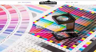 Table Rock Printers Website Homepage