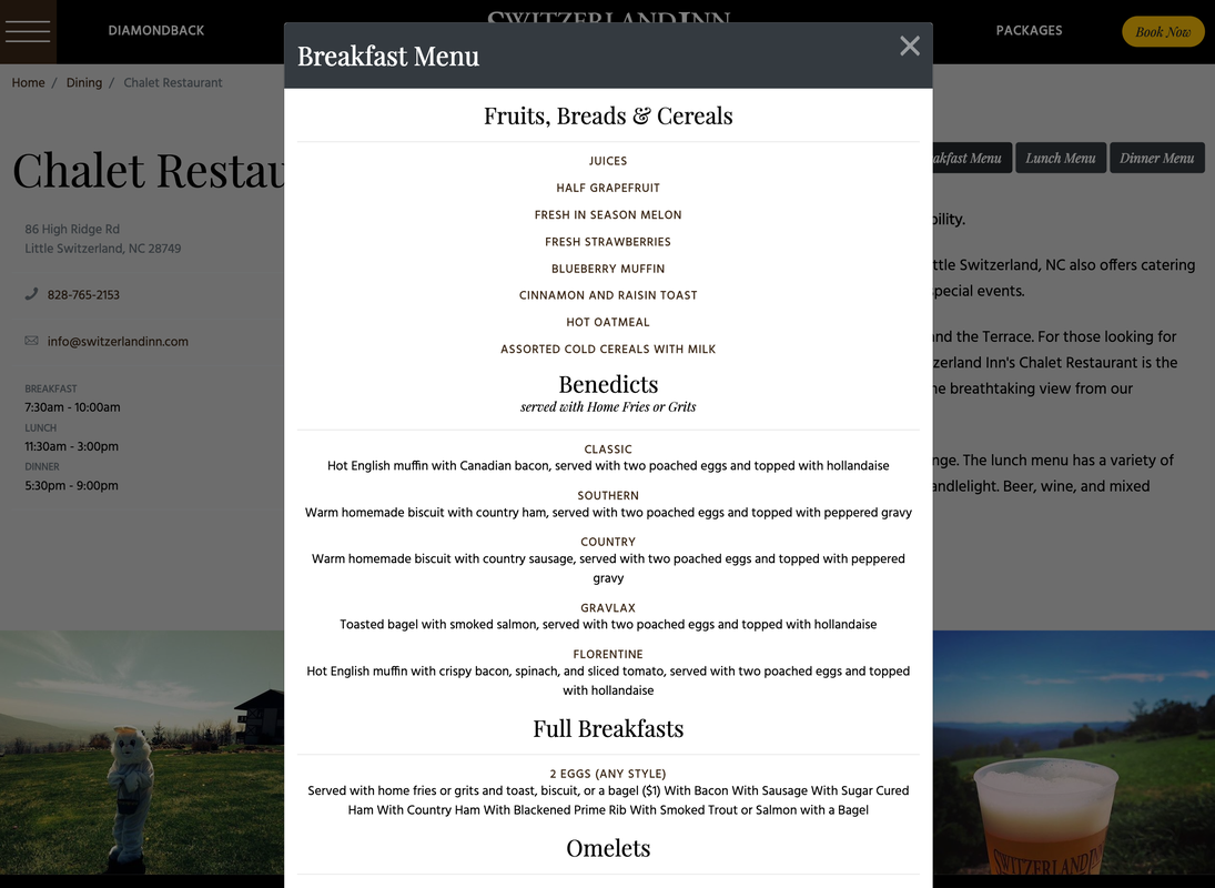 Switzerland Inn Online Menu