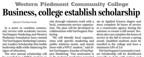 VanNoppen Marketing Forms Scholarship with WPCC
