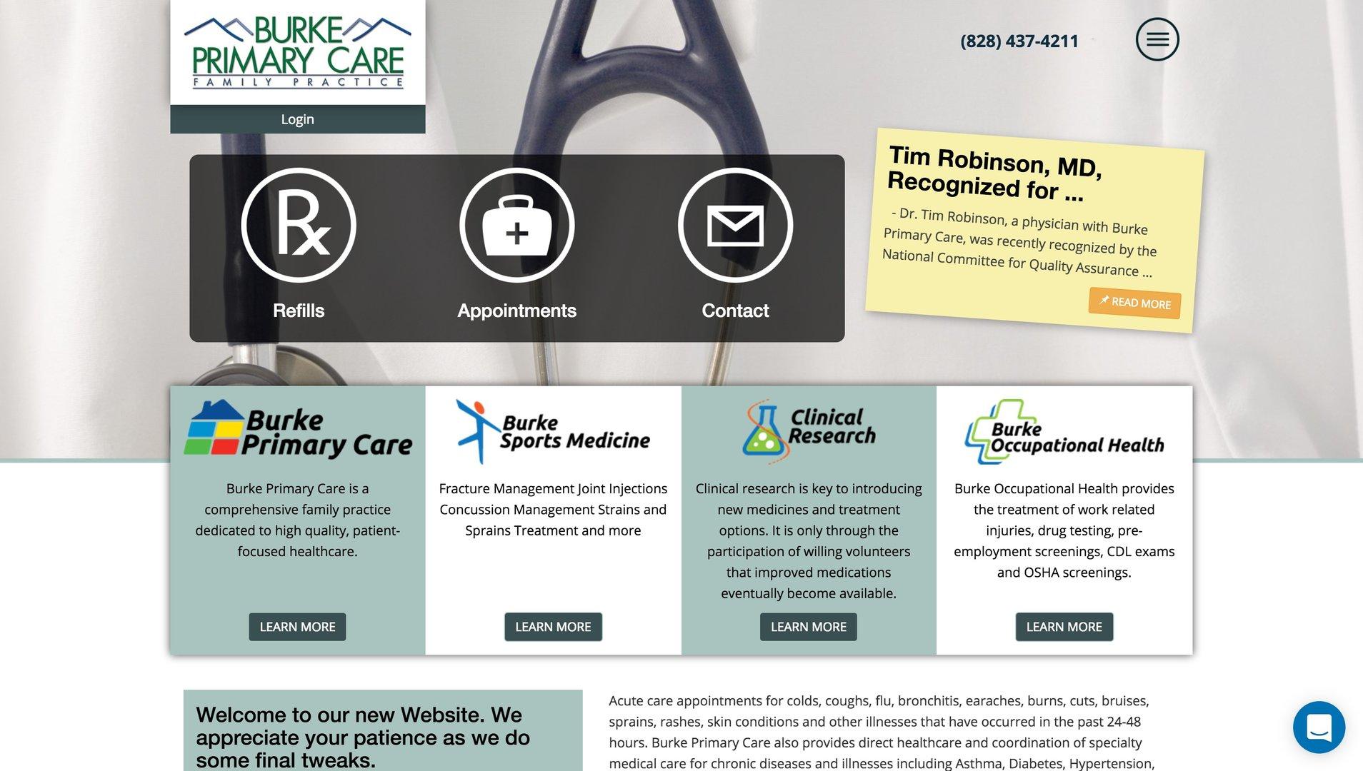 Burke Primary Care website homepage