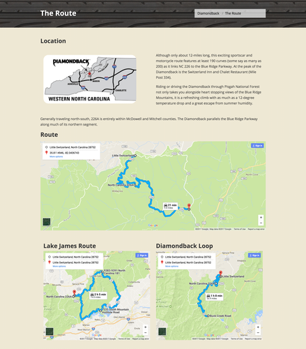 Switzerland Inn website Diamondback page